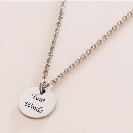 Engraved Steel Round Pendant Memorial Necklace